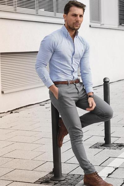 look casual chic homme pantalon gris