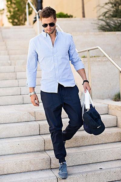 look sportswear homme chemise bleu clair et jogpant bleu marine