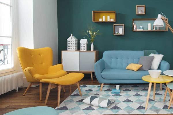 salon scandinave coloré