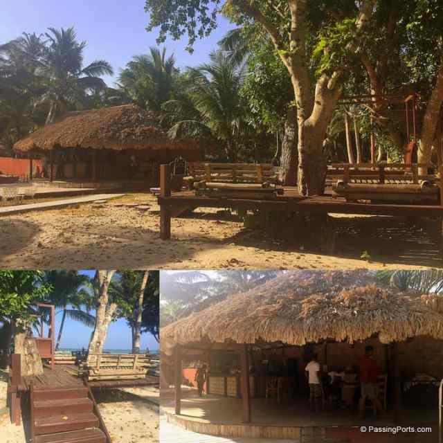 Spacious dining area and bar near beach