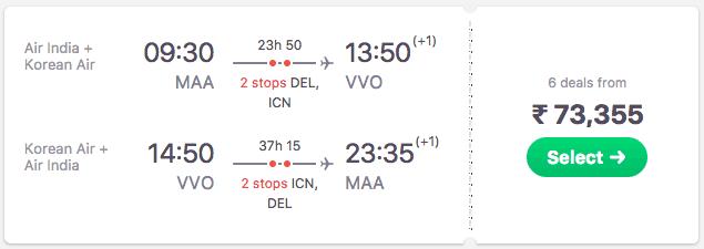 flights from Chennai to Vladivostok
