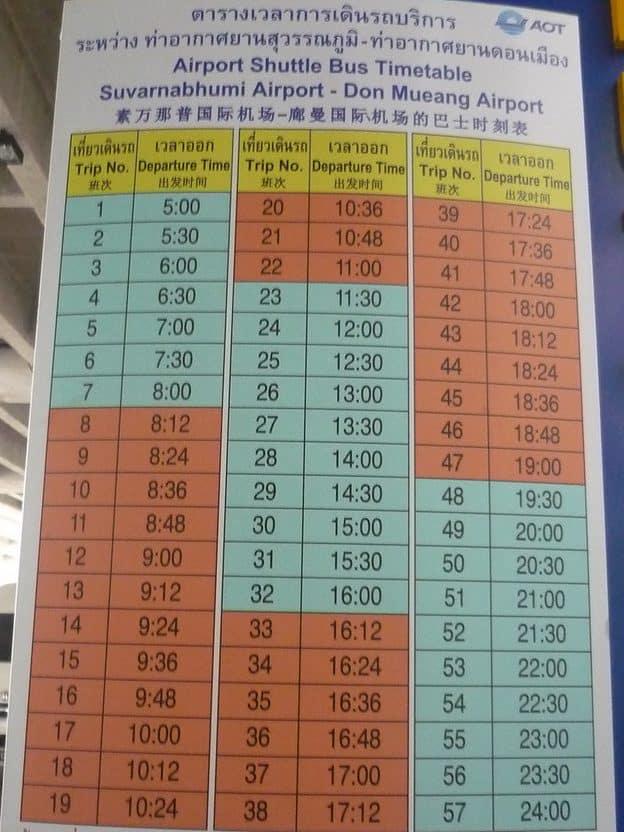 Bangkok Suvarnabhumi to Don Muang free airport shuttle