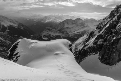 Sur l'épaule, ski panoramique