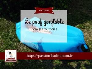 pouf gonflable badminton matériel