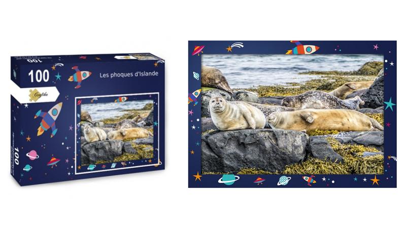 Les phoques d'Islande, puzzle 100 pièces, par Jean-Yves Petit