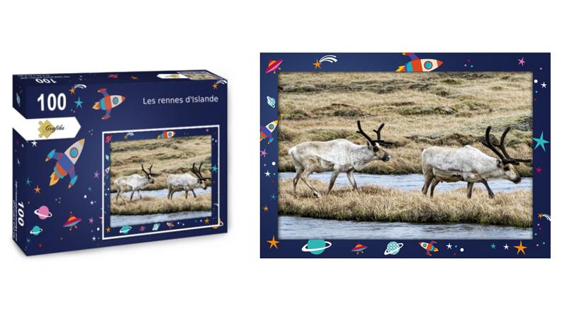 Les rennes d'Islande, puzzle 100 pièces, par Jean-Yves Petit