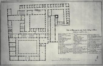Pianta del piano superiore del Palazzo di Brera a Milano Piermarini Giuseppe