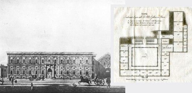 l Palazzo di Brera in una stampa settecentesca e la pianta della Pinacoteca nel 1822.