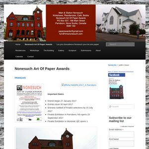 Nonesuch Art Of Paper Awards Parrsboro