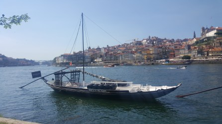 A Rebelo boat moored along the Douro river in Gaia