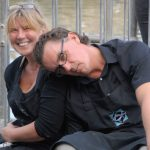 Sue and Duncan Lucas taking time out during a busy day demonstrating fish handling at the Newlyn Fish Festival