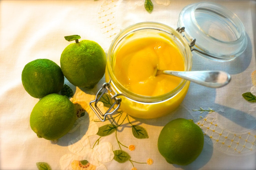 Homemade lime curd made from the fruits of my garden