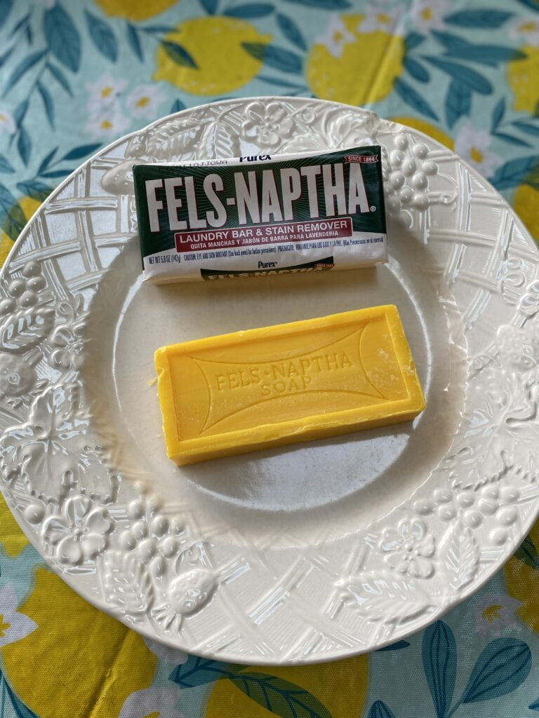 fels naptha soap on plate for laundry detergent