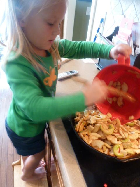 Kids Helping Make Apple Skillet Pie