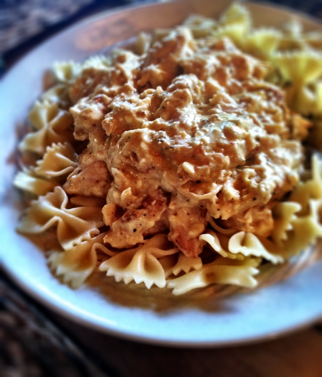 Creamy Crockpot Chicken Finished with Pasta