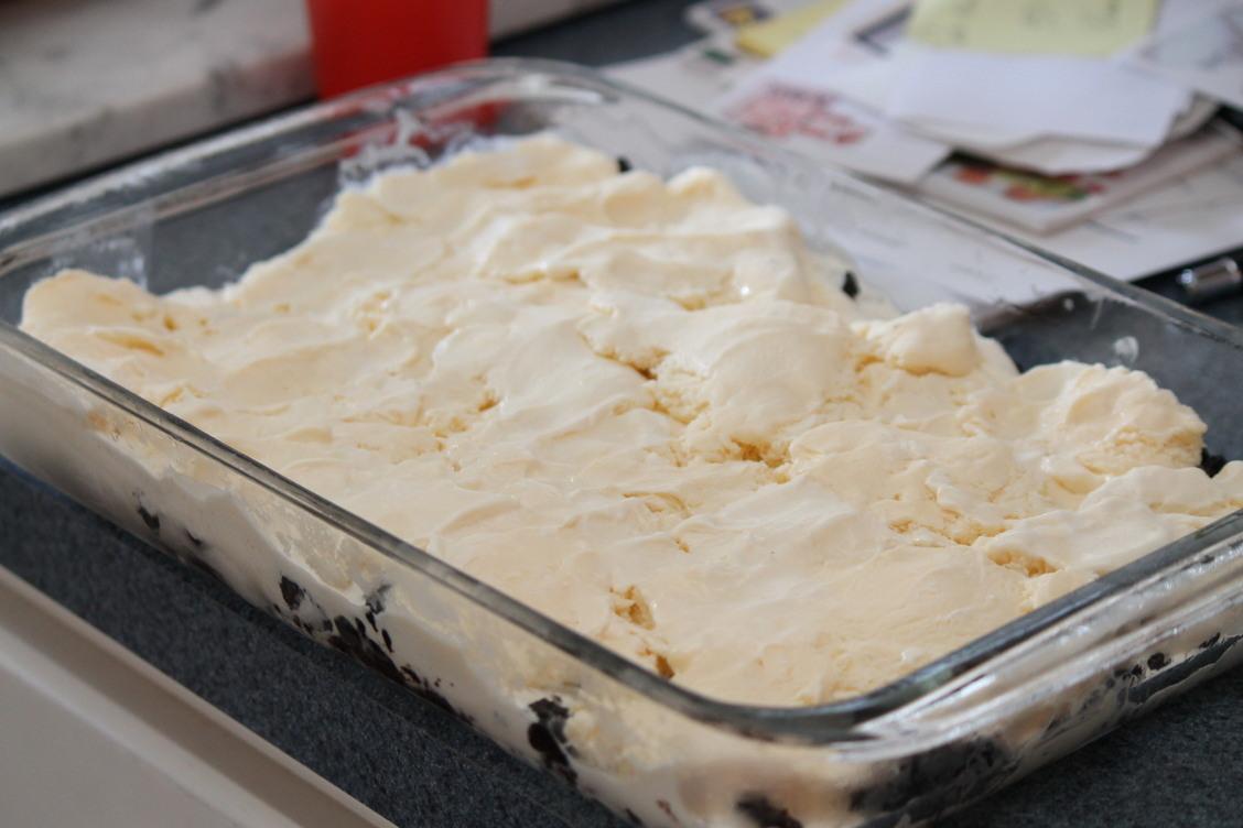 Mudslide Recipe Spreading Out the Vanilla Ice Cream