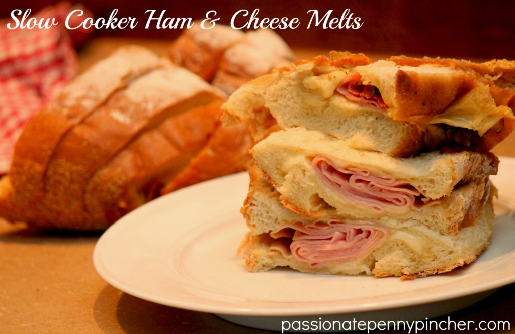 Slow Cooker Ham Cheese Melt Sandwiches Finished on Plate