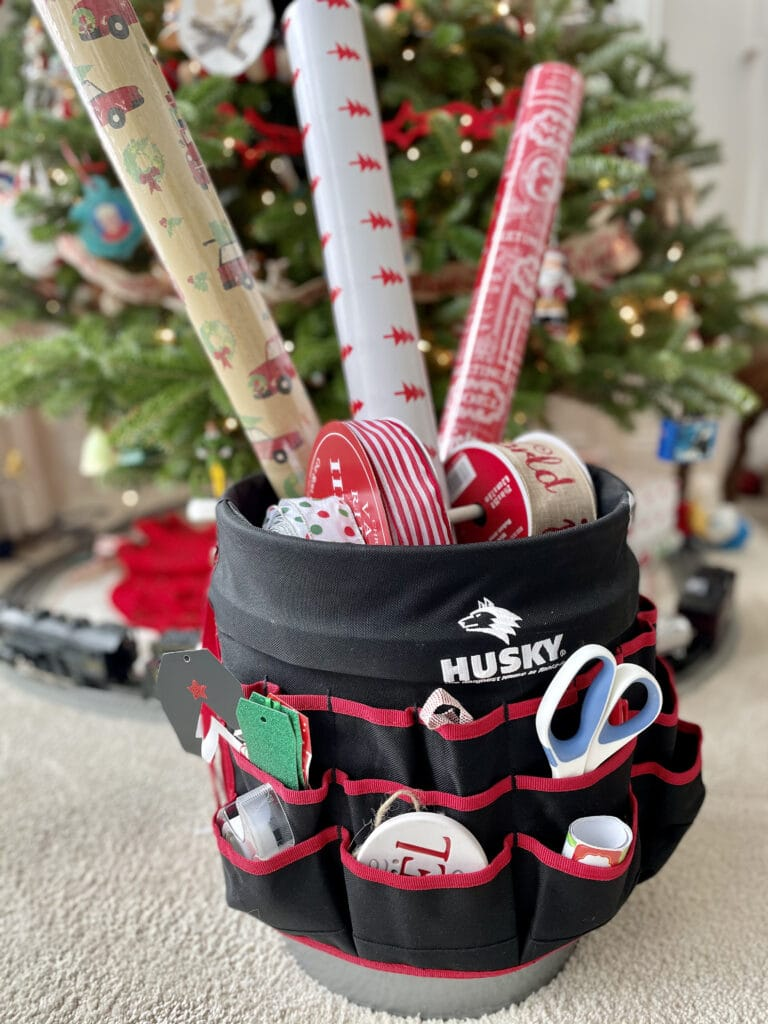 wrapping paper storage bucket