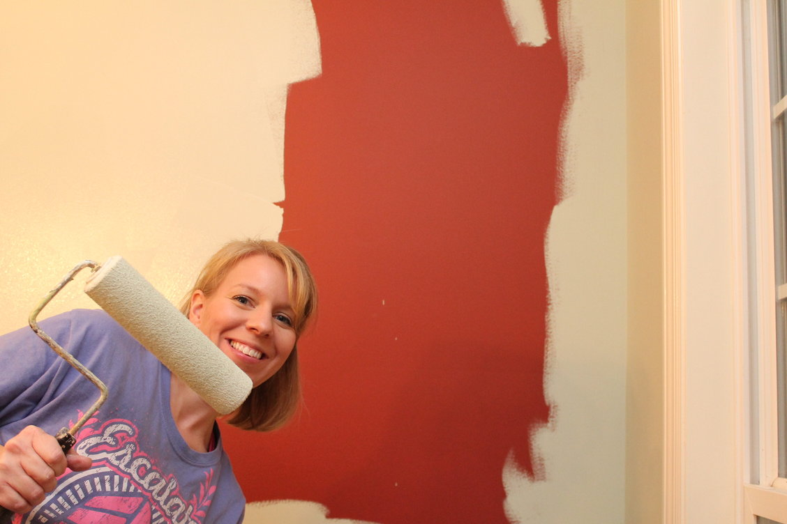 covering Red Walls with benjamin moore paint