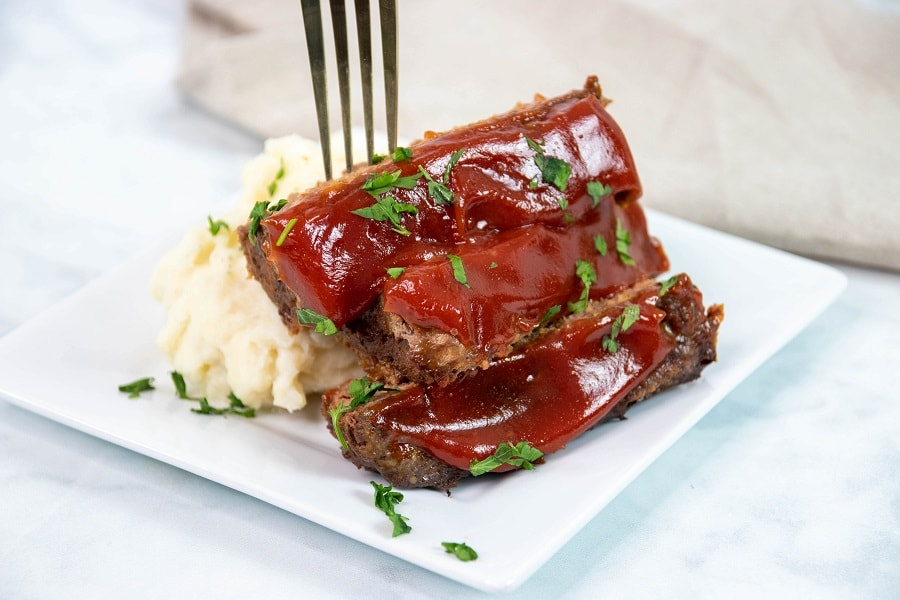 meatloaf finished on plate