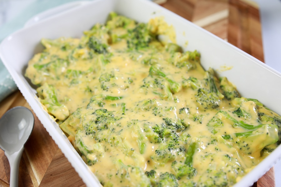 Broccoli and Cheese Casserole in Baking Dish