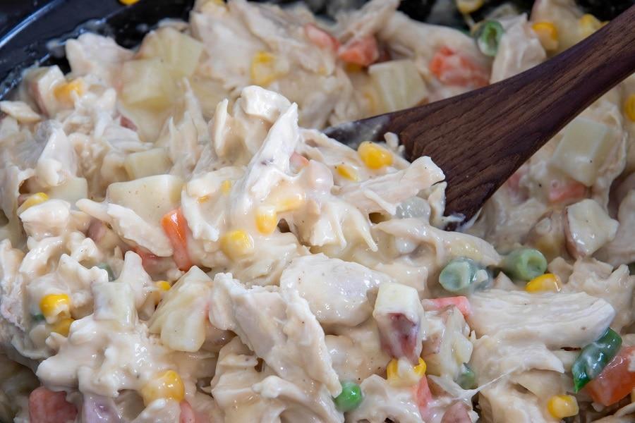 Homemade Chicken Pot Pie Ingredients Mixed