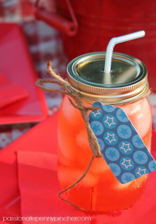 Dollar Tree 4th of July Decorations using Mason Jars for Drinks