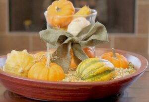 decorating for Fall using live pumpkin