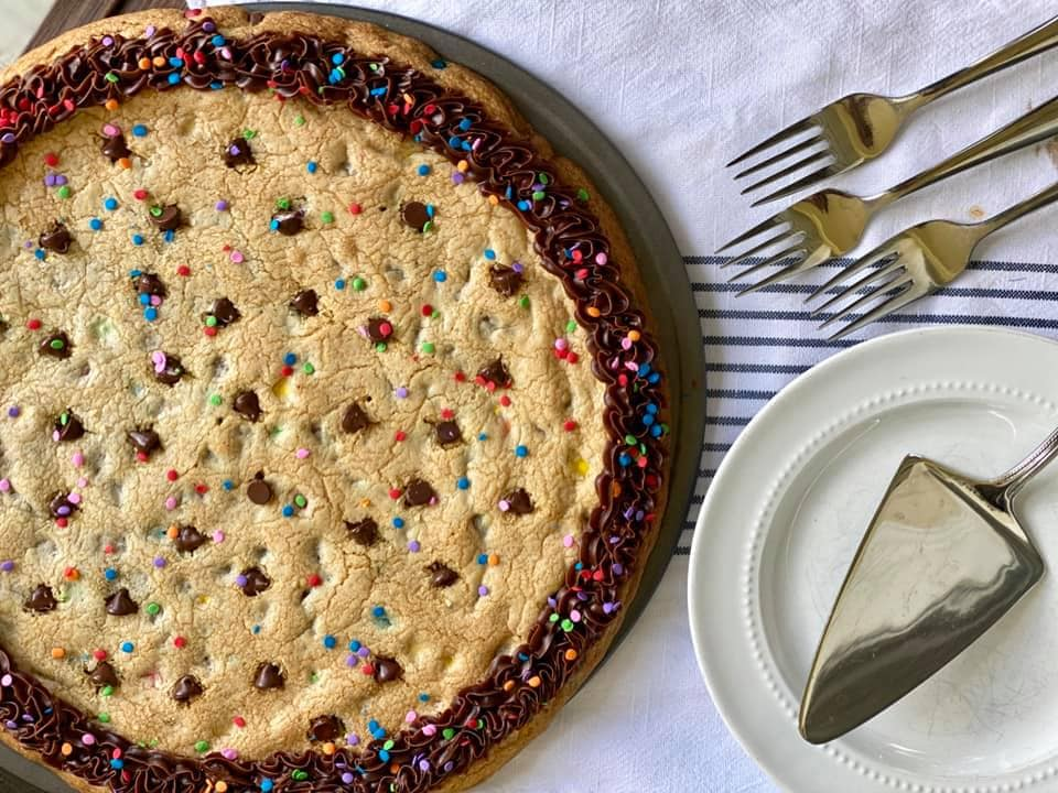 Cookie Cake Recipe with Serving Utensils