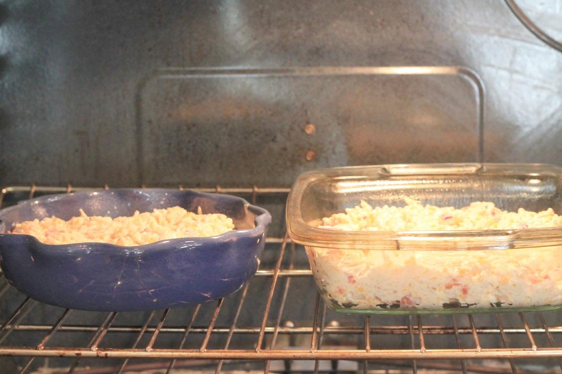 Tex mex chicken casserole baking in the oven