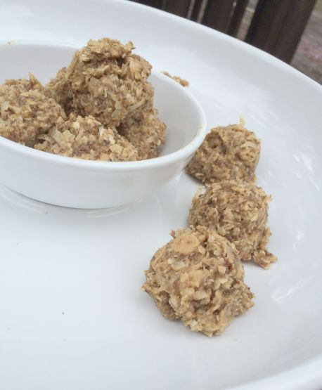 No Bake Peanut Butter Energy Bites on a Plate