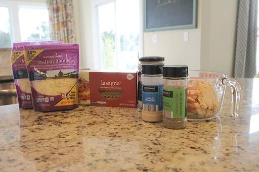 Chicken Alfredo Lasagna Rollup Ingredients on Kitchen Counter