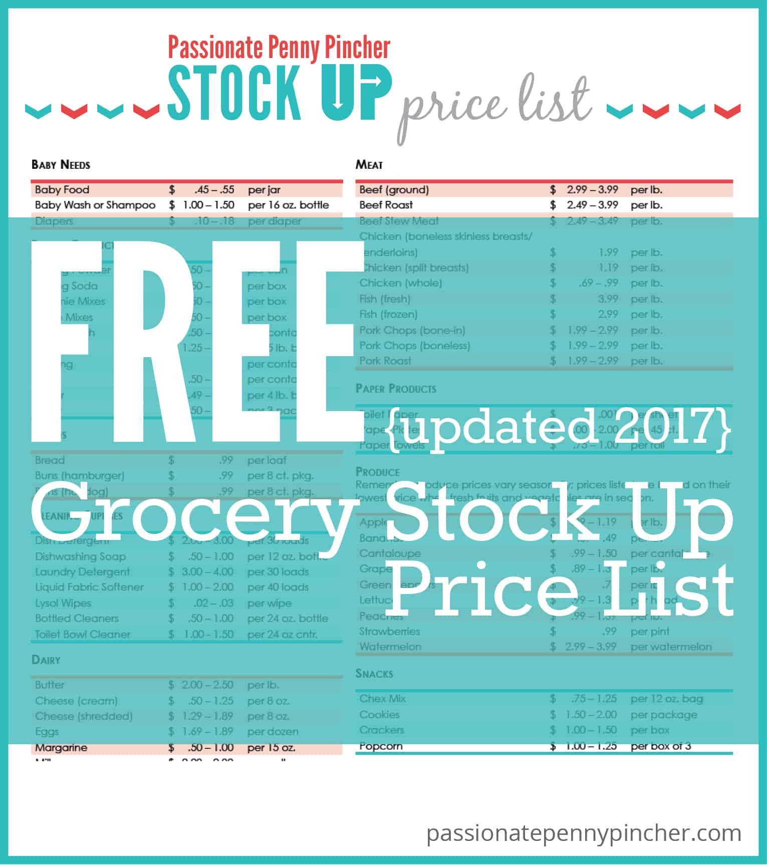 Free Stock Up Price List Updated