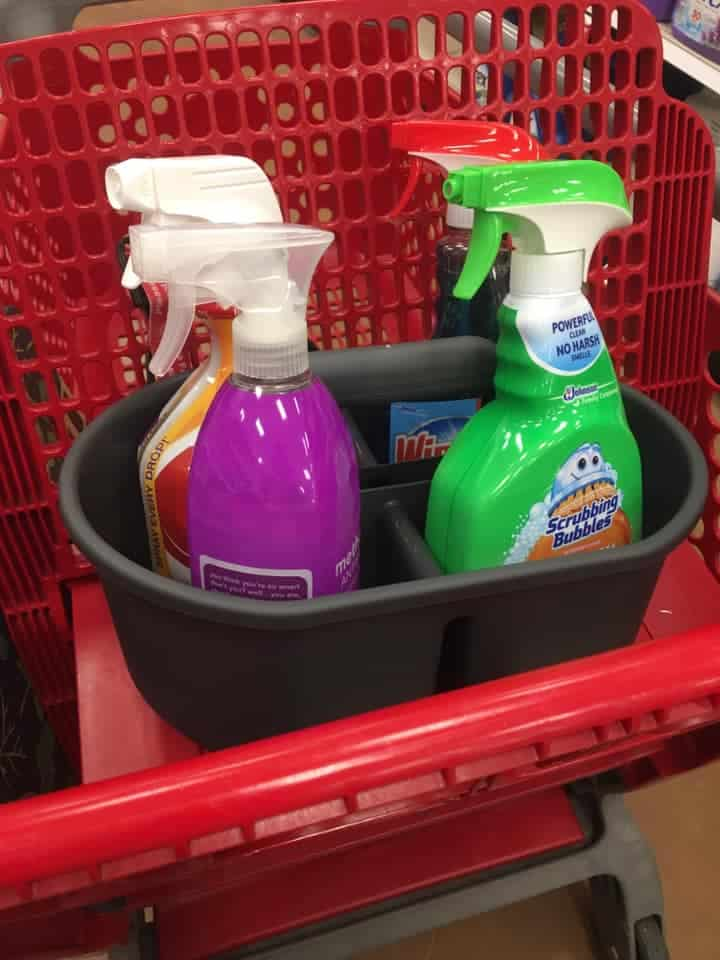 Cleaning Supplies in Caddy