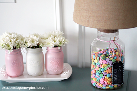 Mason Jar filled with Flowers and Lamp Jar with Candies