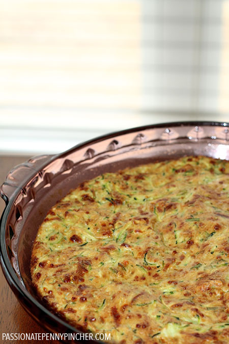 Crustless Zucchini Quiche Recipe in Baking Dish