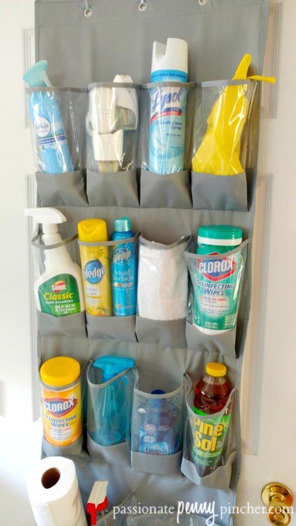 Cleaning Supplies Organizer Full of Supplies