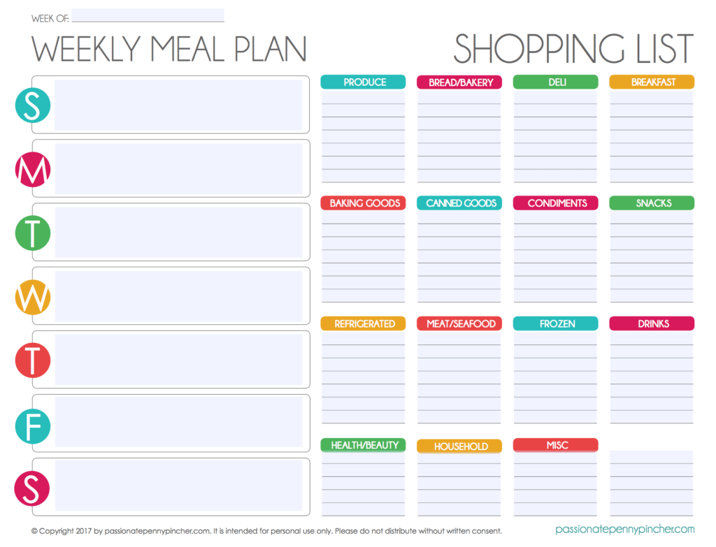 Free Editable Menu Plan And Grocery List