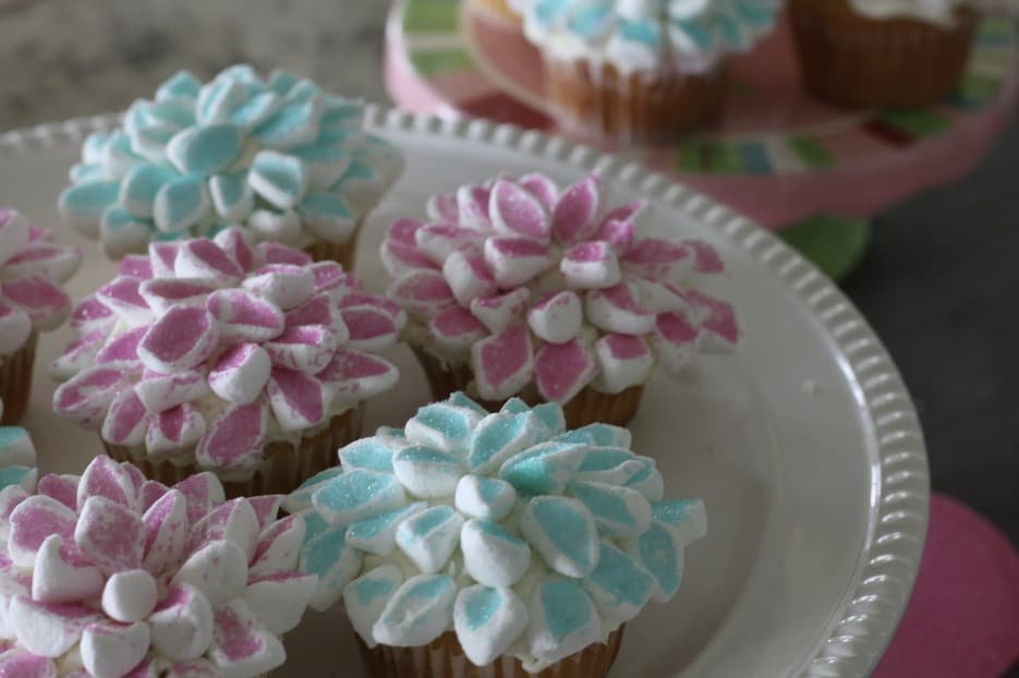 Marshmallow Flower Cupcakes on Plate