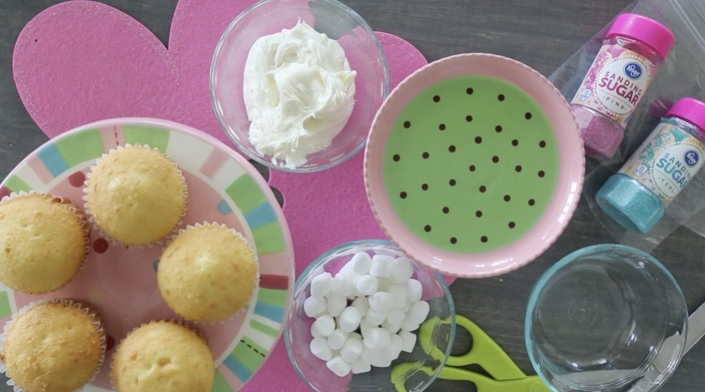 Ingredients for Marshmallow Flower Cupcakes