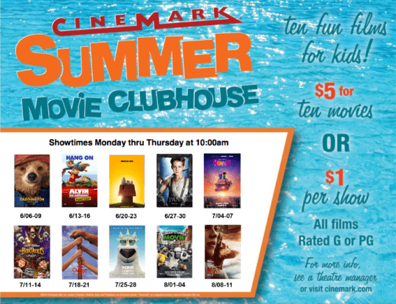 cinemark kids summer movies