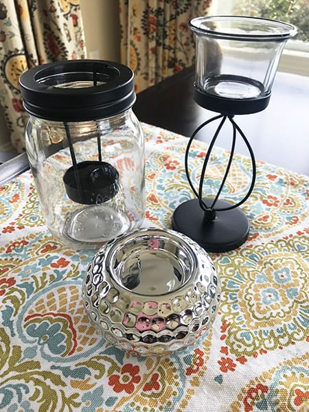 Dollar Tree Candle Holders on a Table