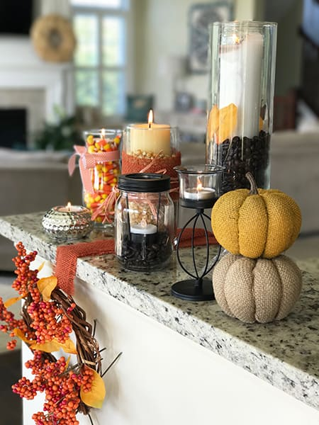 Dollar Tree Centerpieces for Fall finished with pumpkins