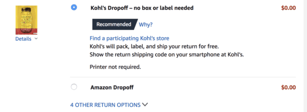 Take advantage of free Kohl's Amazon returns.