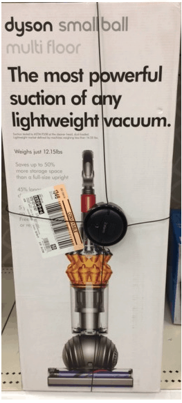 Kohl's Dyson Vacuum sale box in store