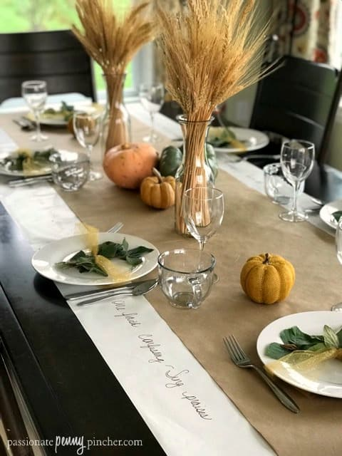 Thanksgiving Table Decor with Plates and Pumpkins