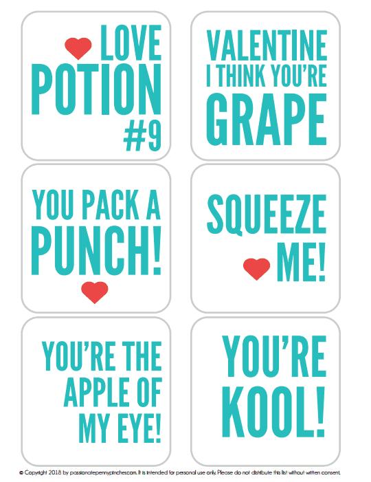 juice box valentines printable