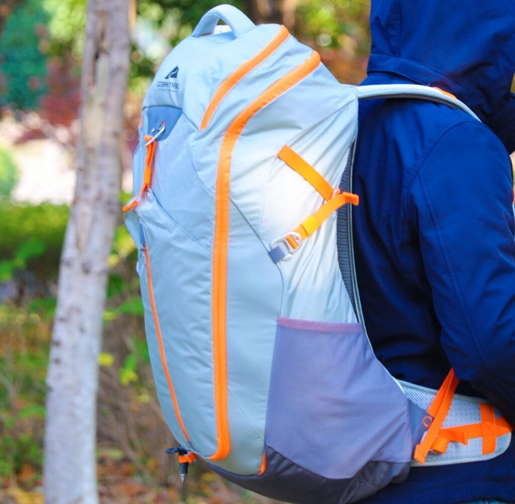 ozark trail hiking backpack lightweight orange and blue