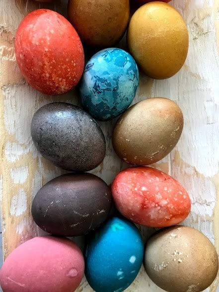 Homemade Easter Egg Dye on Eggs