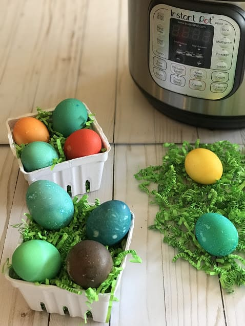 Dyed Hard Boiled Easter Eggs Next to Instant Pot